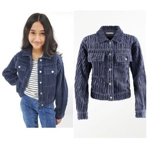nwt tractr girls corduroy patch pocket crop jacket